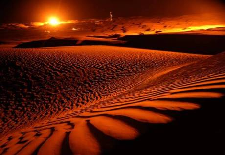 The Taklamakan Desert at Sunset, Xinjiang